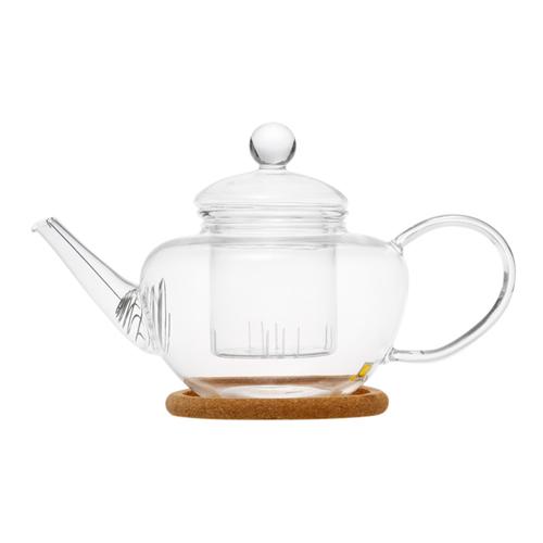 """Чайник стеклянный """"Фикус"""" с заварочной колбой, пробковой подставкой и пружинкой-фильтром в носике (500 мл)"""