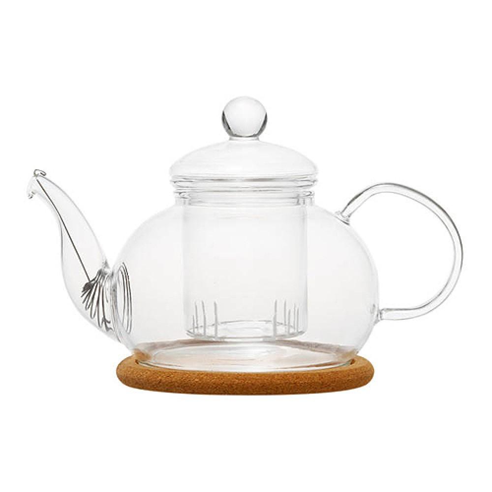 """Чайник стеклянный Орхидея"""" с заварочной колбой и пробковой подставкой (800 мл)"""