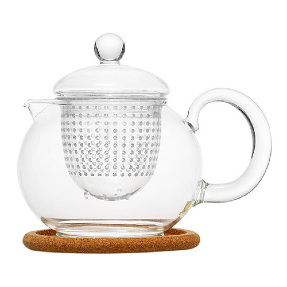 """Чайник стеклянный """"Пион"""" с заварочной колбой и пробковой подставкой (800 мл)"""
