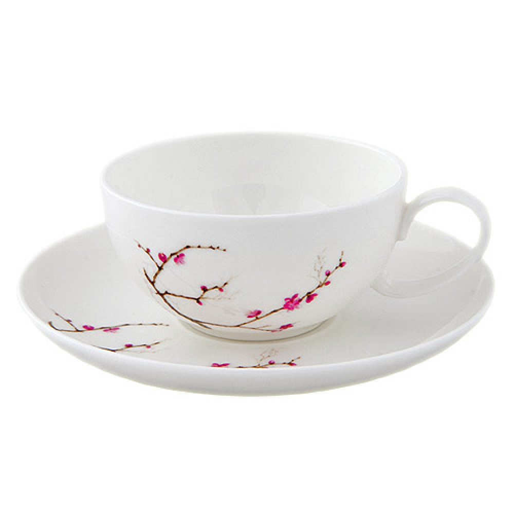 Набор чашка с блюдцем из костяного фарфора