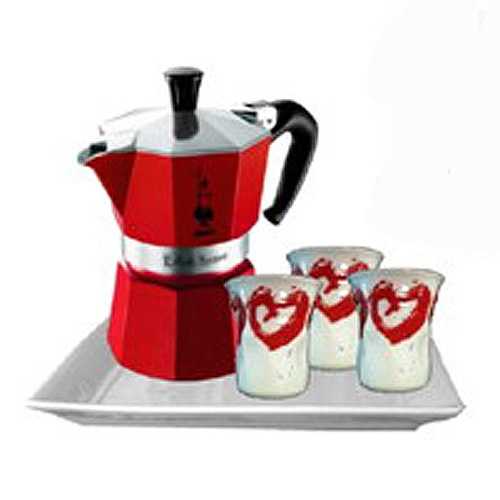 Набор из гейзерной кофеварки Bialetti MOKA красная на 3 порции + 3 чашки и поднос, Арт. 4970/MR