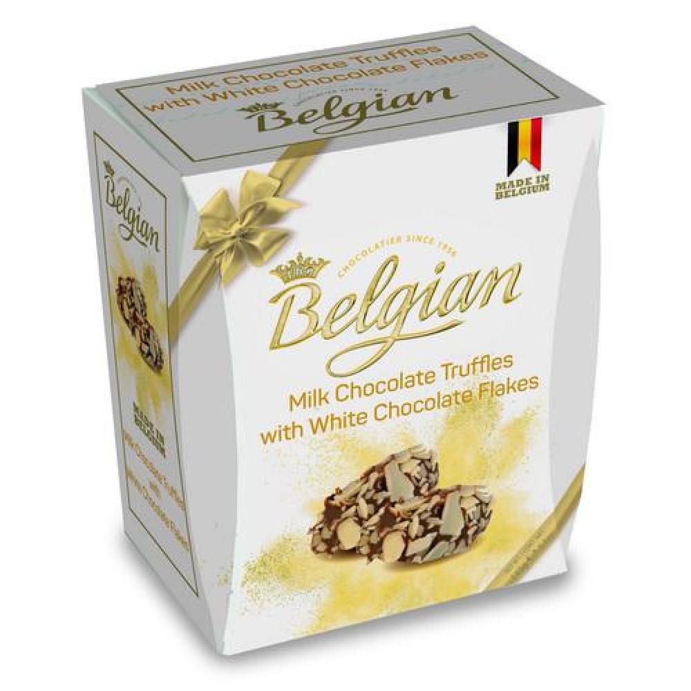 Шоколад The Belgian Трюфели из молочного шоколада в хлопьях из белого шоколада, 145 г