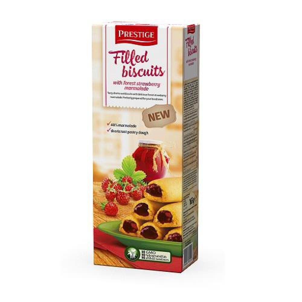 Бисквитное печенье с земляничной начинкой Prestige 165 гр