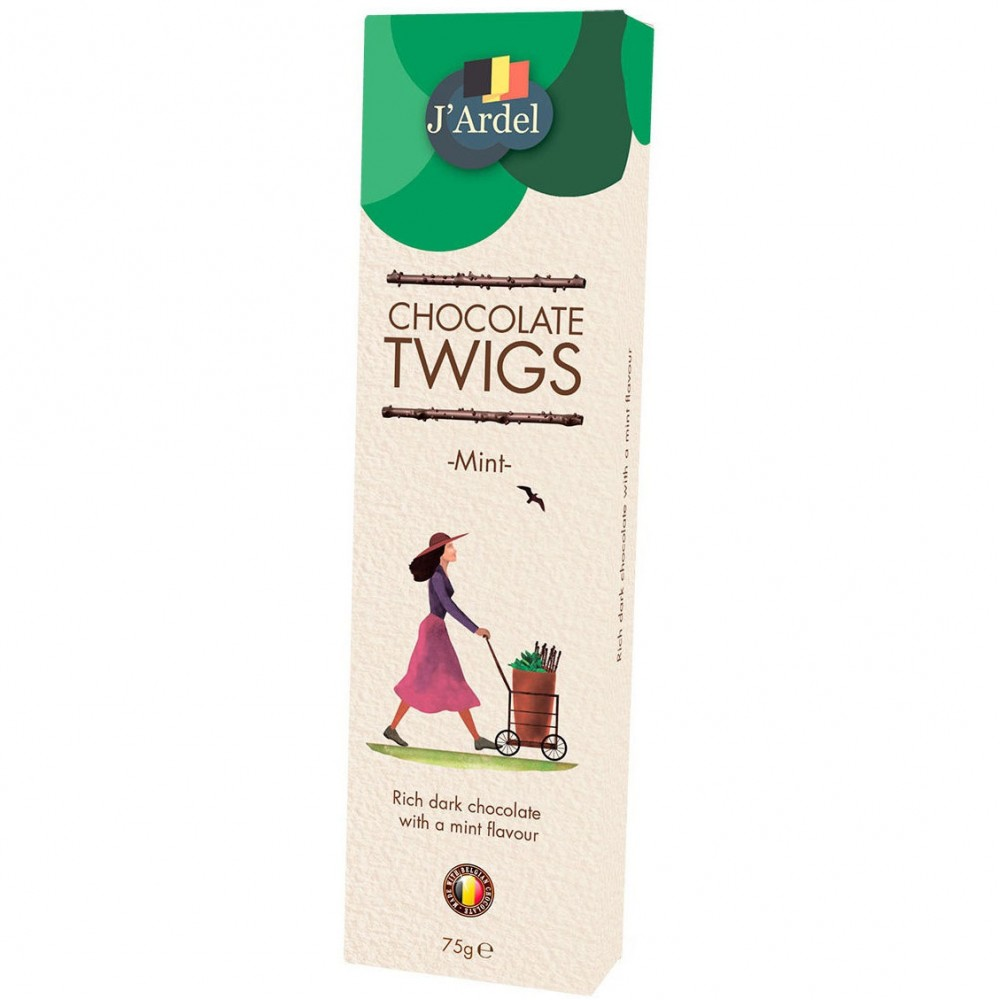 Хворост из  горького шоколада со свежим вкусом мяты J'Ardel Dark Chocolate Twigs with Mint, 75г