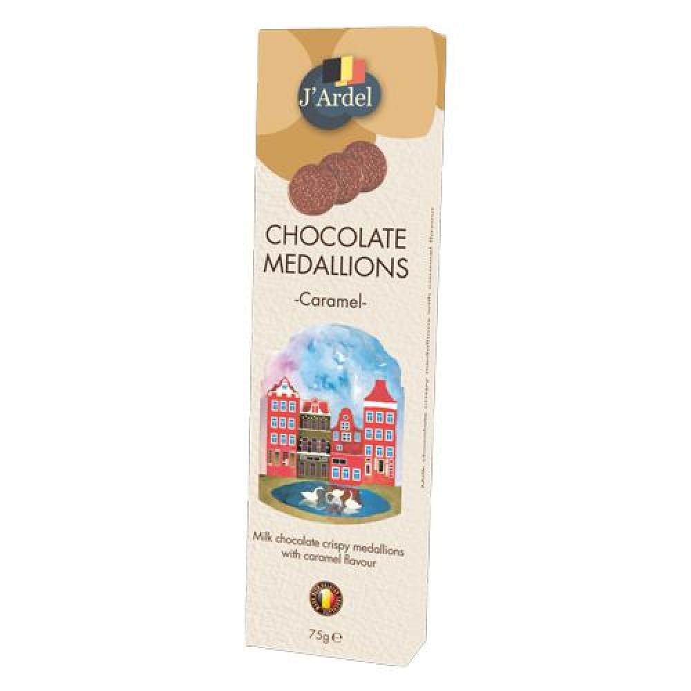 Медальоны хрустящие J'Ardel из молочного шоколада с воздушным рисом и со вкусом карамели 75г
