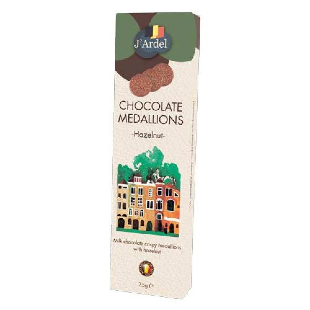 Медальоны хрустящие J'Ardel из молочного шоколада с воздушным рисом и дробленым фундуком 75г