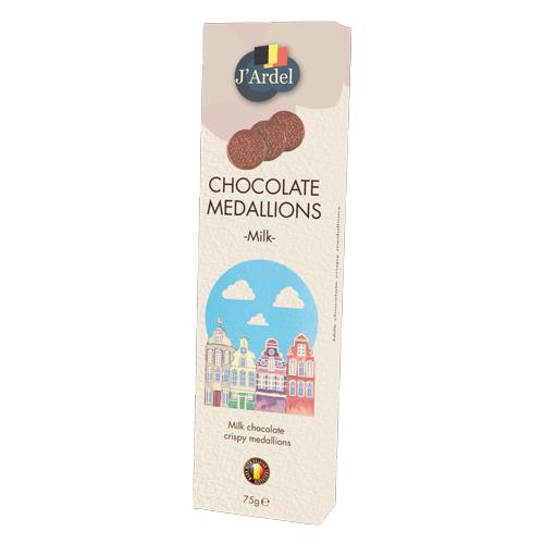 Медальоны хрустящие J'Ardel из молочного шоколада с воздушным рисом 75г